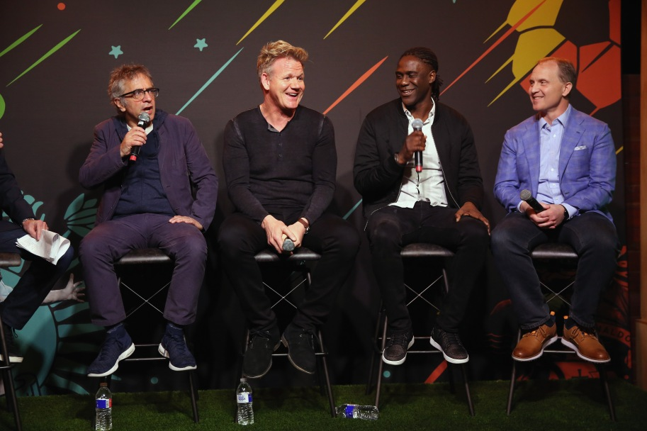 """AUSTIN, TX - MARCH 11: David Worthen, Gordon Ramsay, Mario Melchiot and Eric Shanks attend """"PHENOMS"""" 2018 Soccer Documentary Mini-Series Launch Event at the FOX Sports House at SXSW on March 11, 2018 in Austin, Texas. (Photo by Robin Marchant/Getty Images for """"Phenoms"""" ) *** Local Caption *** David Worthen; Gordon Ramsay; Mario Melchiot; Eric Shanks"""