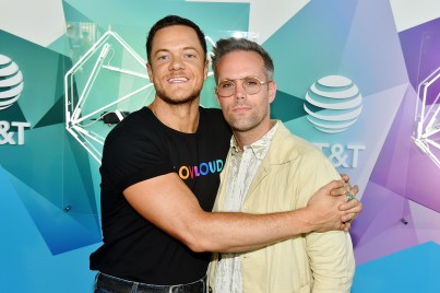SALT LAKE CITY, UT - JULY 28: Dan Reynolds of Imagine Dragons and Justin Tranter attend 2018 LOVELOUD Festival Powered By AT&T at Rice-Eccles Stadium on July 28, 2018 in Salt Lake City, Utah. (Photo by Jerod Harris/Getty Images for LOVELOUD Festival)