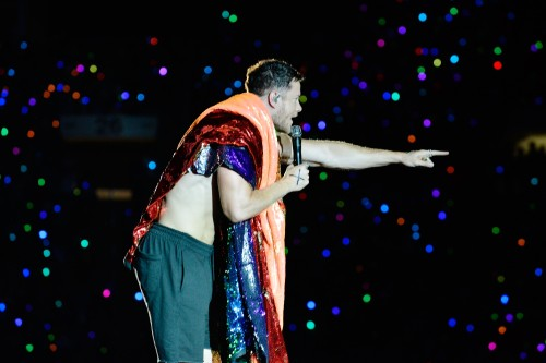 SALT LAKE CITY, UT - JULY 28: Dan Reynolds of Imagine Dragons performs at LOVELOUD Festival 2018 Powered By AT&T at Rice Eccles Stadium on July 28, 2018 in Salt Lake City, Utah. (Photo by Jerod Harris/Getty Images for LOVELOUD Festival)