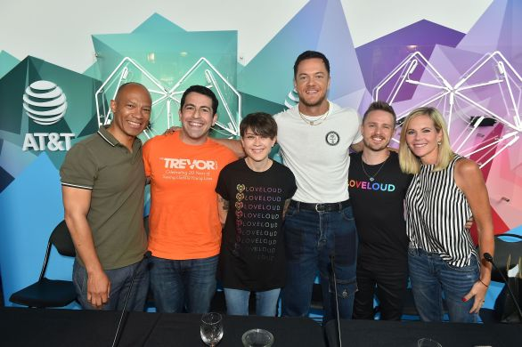 SALT LAKE CITY, UT - JULY 28: (L-R) Ken McNeely, Amit Paley, Tegan Quin, Dan Reynolds, Lance Lowry and Stephenie Larsen attend 2018 LOVELOUD Festival Powered By AT&T at Rice-Eccles Stadium on July 28, 2018 in Salt Lake City, Utah. (Photo by Jerod Harris/Getty Images for LOVELOUD Festival)
