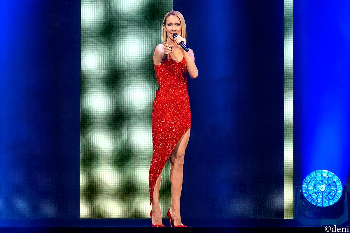 singer celine dion in red dress