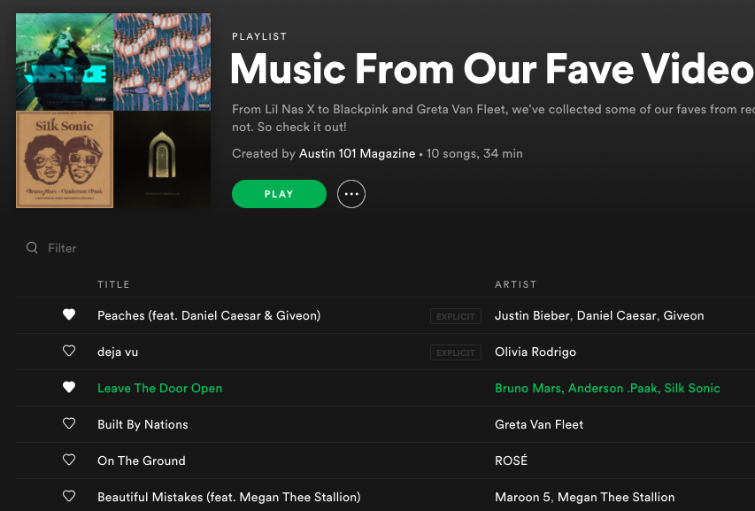Austin 101 Spotify Playlist: New Release Music Videos May2021
